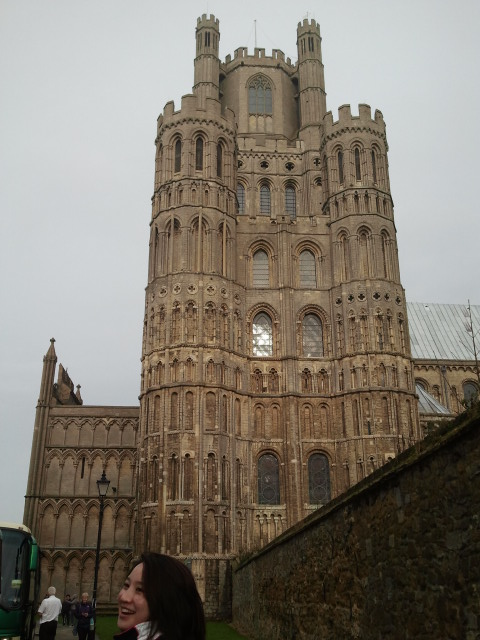 Jacqui is very excited that we're approaching the cathedral (West Tower).