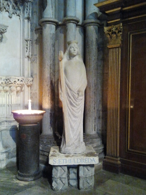 Statue of St. Etheldreda, an early Christian queen. The cathedral was built on the site of a shrine to her, an important medieval pilgrimage site.