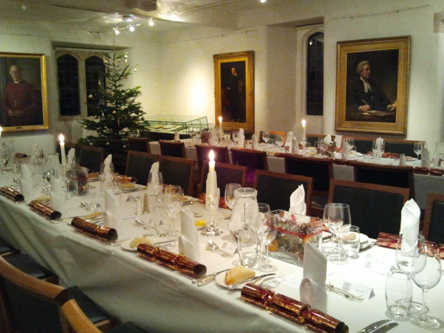 Festive place settings for my research group's Christmas dinner at Trinity Hall on Monday night.