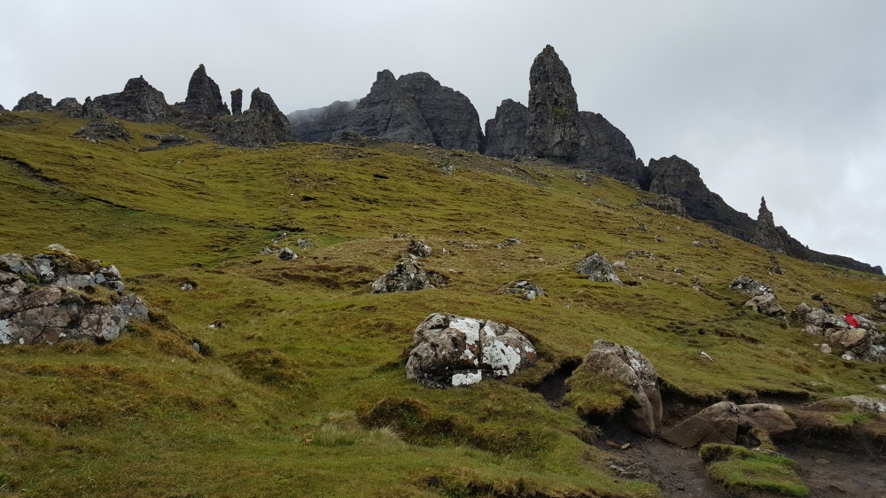 Our next hike of the day: looking up at the Storr and other big rocks. Photo credit: Mom.